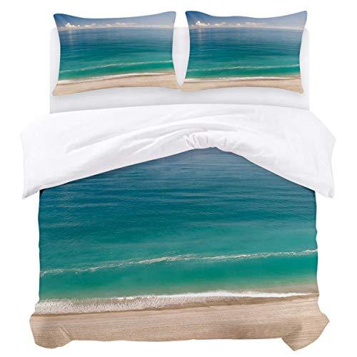 Juego de funda nórdica, 3 piezas, ultra suave, ligero, de microfibra, edredón, funda de cama con cierre de cremallera, lazos, playa, arena, mar, océano, azul, fácil cuidado, antialérgico, suave, suave