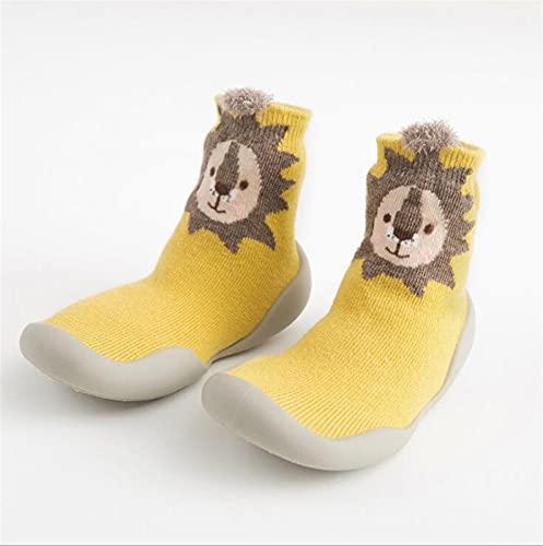 ベビー幼児の靴の赤ん坊の靴滑り止めフォックスタイガー肥厚靴靴下の床の靴の足靴下動物のスタイル 918 (Color : Yellow, Size : 2-4 Years)