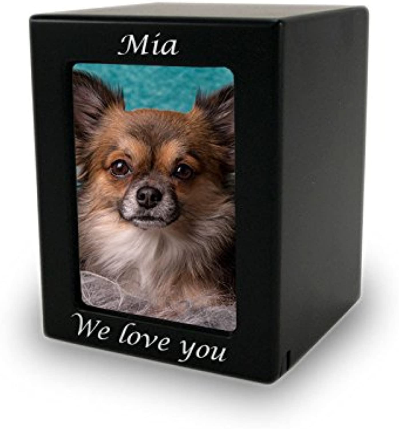 Photo Frame Wood Memorial Urn for Pets  Extra Small  Holds Up to 25 Cubic Inches of Ashes  Modern Black Cremation Urn for Cat, Dog  Engraving Sold Separately