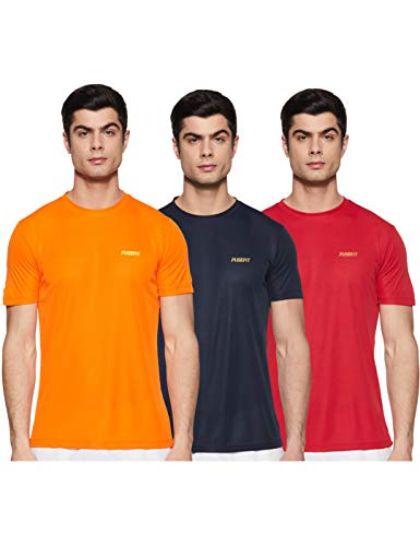 Fusefit Men's Solid Slim fit T-Shirt (Pack of 3) (FFA-MT036-02_Multicolor S)