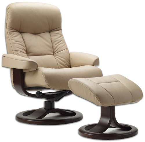Fjords Leather Norwegian Ergonomic Scandinavian Lounge Reclining Chair 215 Large Muldal Recliner Furniture Nordic Line Genuine Sandel Light Brown Leather Walnut Wood