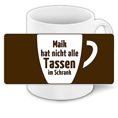 Lustige Kaffee-Tasse mit Namen Maik und witzigem Motiv
