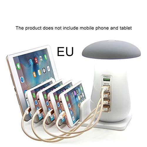 3.0 USB-oplader Hub 5 poorten Adapter Telefoon opladen Led-paddenstoel Bureau Lichtgrijs EU