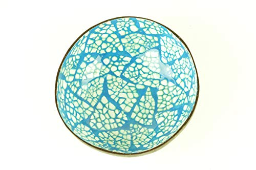 Bol en noix de coco fait à la main - Bol rond en bois naturel avec peinture laquée brillante incrustée de coquilles d'œuf - Bleu et blanc - H008