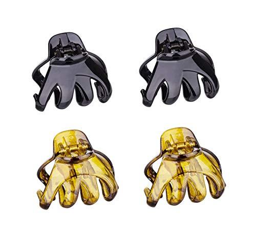 8 Stück Große Grip Octopus Klammer 6 cm Haarkrallen Clip Rutschfeste Spinne Haar Klaue Octopus Kiefer Haar Klaue Clips für Frauen Dickes Haar (Schwarz,Khaki)