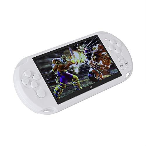 Game Player Durable Mini Handheld X9 Game Console, Salida de TV de Soporte - Cable AV, Regalo para niños Kid, con Pantalla a Color de 5.1 Pulgadas(Blanco)