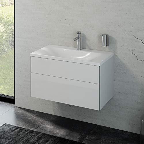 Keuco Badmöbelset mit Waschtisch, Waschbecken mit Unterschrank, Badschrank mit Frontauszug Hochglanz-weiß, Badmöbel Komplettset inkl. Ablaufgarnitur, Badezimmer Möbelset, Breite 80cm Royal Reflex
