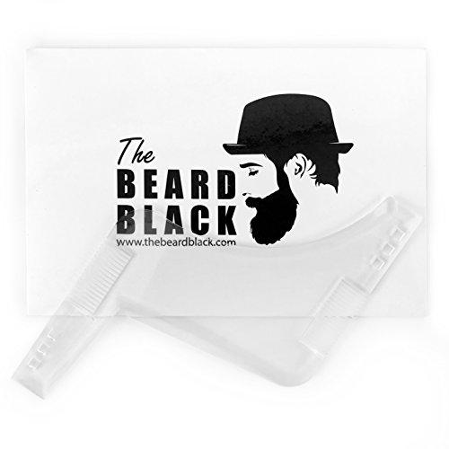 Ferramenta de modelagem e estilo de barba transparente com pente embutido para alinhamento e bordas perfeitas, use com um aparador de barba ou lâmina para modelar sua barba e pelo facial, produto premium da The Beard Black