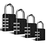 Candado combinación,candados de Seguridad por combinación, [4 Piezas] con Apertura mecánica por combinación numérica Triple o cuádruple (3 o 4 digitos), Ideal para Puertas, cercas, etc.