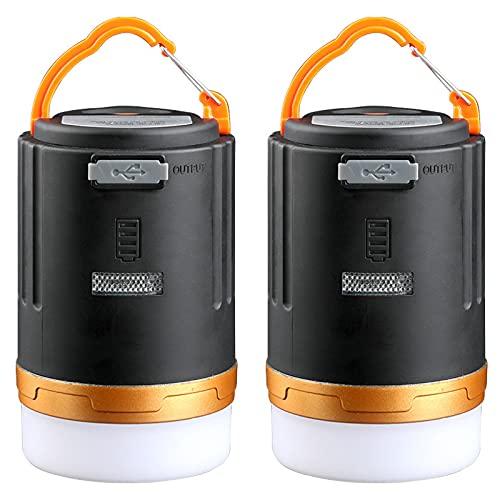 SJNSJN 2 Piezas Linterna Camping LED 4800 Mah Recargable Camping Lámpara 3 Modos Lámpara De Campamento Con Base Magnética Impermeable Portátil Luz De Emergencia Para Acampar Cortes De Energía
