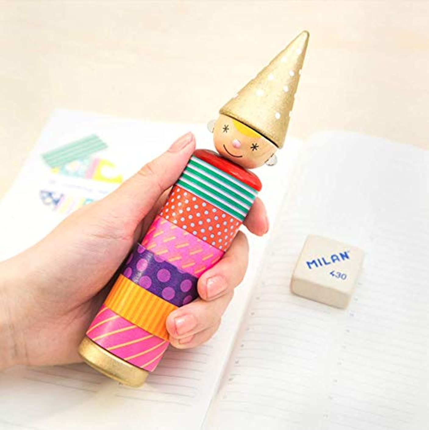 Cylindrical Washi Tape Organzier Plastic Portable Tape Dispenser Office Holder for Arts, DIY Crafts, Bullet Journal Supplies, Scrapbooking -Transparent- (Hatty Boy)
