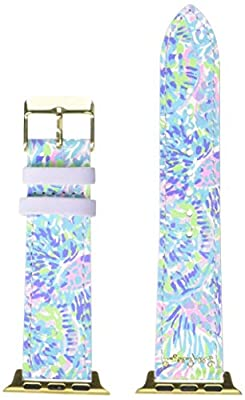 Lilly Pulitzer Purple/Blue/Green Genuine Leather Watch Band Sized to Fit 38mm & 40mm Smartwatches Compatible with Apple Watch Series 1-6, Shell of a Party