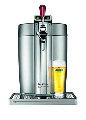 Krups Beertender Loft Edition Silver/Chrome Machine à bière, Tireuse à bière, Pompe à bière, Machine à bière pression, Fût 5 L, Indicateur température, Indicateur volume restant VB700E00