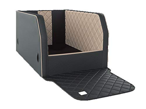 Mypado Autohundebett Travelmat ® Rücksitz Select Plus Standardmaß mit Gurtsystem und Schaumstoffboden mit Holzplatte (XS B:57 T1:65 T2:57 H1:45 H2:30 P:50, blacksand)