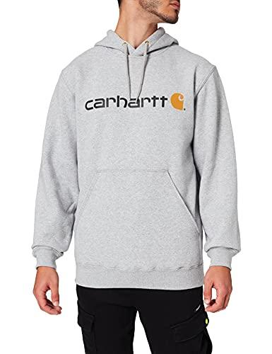 Carhartt Signature Logo Midweight Sweatshirt Felpa, Heather Grey, M Uomo
