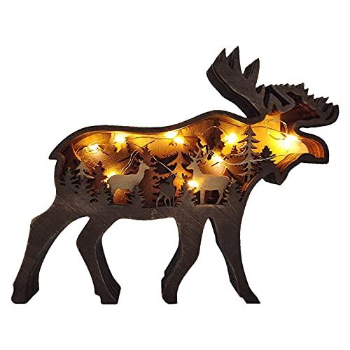 OKUGAIYA 3D Wald Tier Holz Handwerk, Elch Dekoration Handwerk, Retro Bär Hirsch Deko mit LED Wandbehang Handbemalt Weihnachten Ornament (REH)