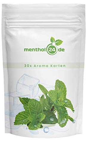 Menthol24de Aromakarten Menthol – 30x Mentholkarten - 100% natürliche Minze - Premium Qualität – Made in Germany
