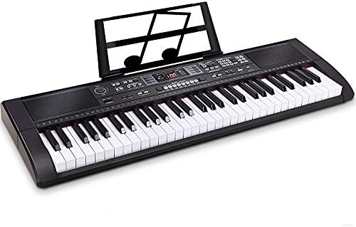 Souidmy Teclado piano eléctrico 61 teclas con Bluetooth, altavoces incorporados, fuente de alimentación dual, teclado portátil para principiantes (niños y adultos)