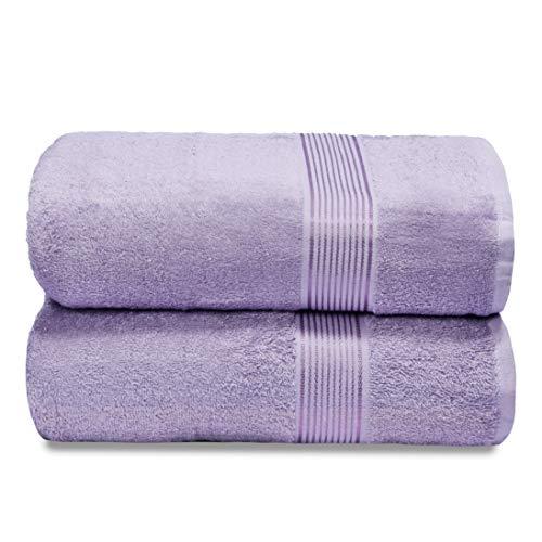 GLAMBURG Juego de 2 Toallas de baño de algodón de Gran tamaño, 100 x 150 cm, Grandes Toallas de baño, Ultra Absorbente, Compacto, Secado rápido y Ligero, Color Morado Oscuro ⭐