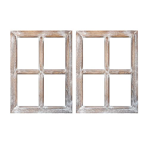 """Barnyard Designs Rustic Barn Wood Window Frames, Decorative Country Farmhouse Home Wall Decor, Wooden Window Pane for Living Room, Bedroom, or Fireplace Mantel, 18"""" x 24"""", (2 Pack)"""