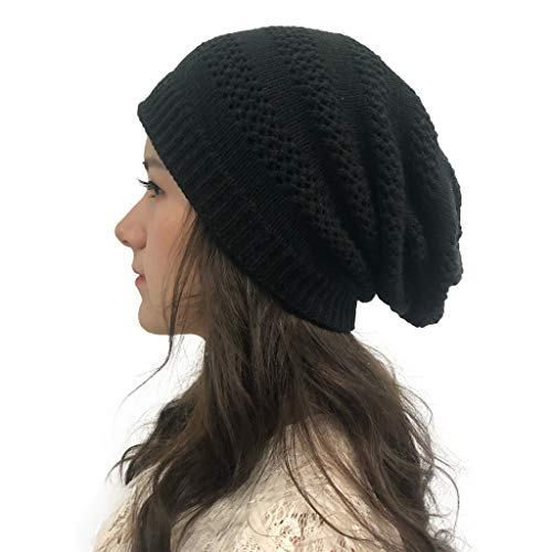 Holeider Slouch Beanie Mütze für Strickmützen für Damen, Cozy fit Stricken Mützen Wintermütze mit weichem Teddyfell gefüttert | warme Ohren | Relax fit