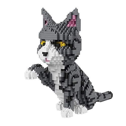 shenlanyu Niños Bloques de Construcción Gato Persa Gris Gatito Animal Modelo 3D DIY Mini Diamante Bloques Ladrillos Construcción Juguete para Niños Regalo