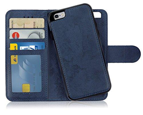 MyGadget Funda Flip Case con Tapa 2 en 1 para Apple iPhone 6 / 6s en Cuero PU - Carcasa Cerrada con Soporte - Cubierta Magnética Separable - Azul