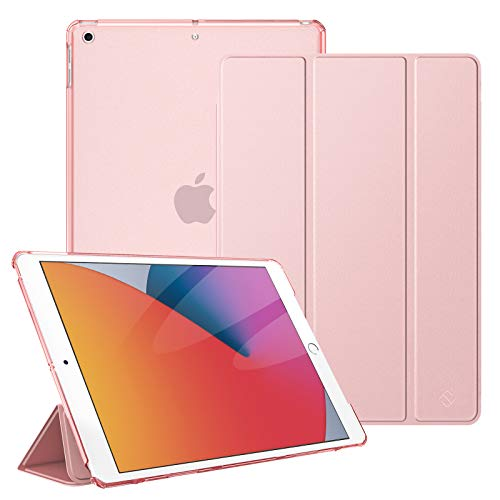 Fintie Case for iPad 8th Generation (2020) / 7th Gen (2019), iPad 10.2 Inch Case - Lightweight SlimShell Stand Cover with Translucent Hard Back Protector Auto Wake/Sleep, Rose Gold