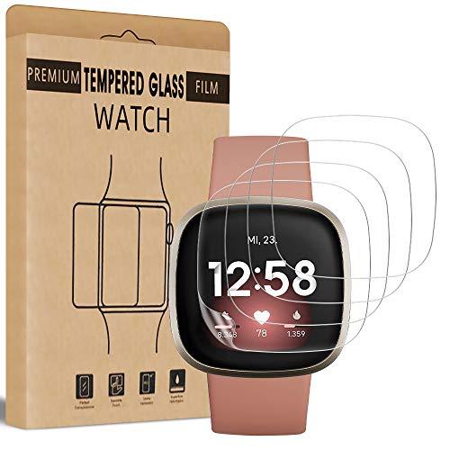 Bodyguard 4 Stück Schutzfolie für Fitbit Versa 3 / Fitbit Sense Folie Panzerglas, 99.99% HD, Blasenfreie Anti-Scratch Kristallklar schutzglas
