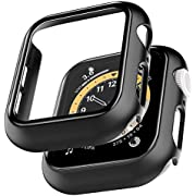 LϟK [2 Pack] Case for Apple Watch Series 6 44mm / Apple Watch SE 44mm with Built-in Tempered Glass Screen Protector Overall Protective Hard PC HD Clear Ultra-Thin Cover for iWatch 44mm (Black)