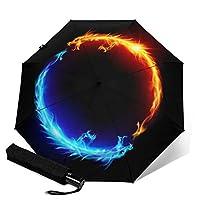 火と氷のドラゴン Print 自動三つ折り傘、 防水、日焼け止め、防風、軽量、ユニセックス屋外印刷傘