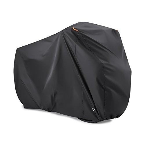BEEWAY Fahrradabdeckung für 2 Fahrräder, Wasserdichte 190T Nylon Abdeckplane Fahrradgarage Anti-Staub-Regen UV-Schutz für alle Fahrradtypen mit Sperrlöcher Aufbewahrungstasche