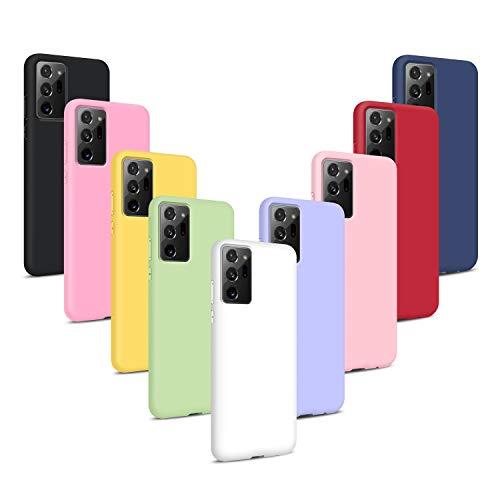 9X Funda para Samsung Galaxy Note 20 Ultra, Carcasas Flexible Suave TPU Silicona Ultra Delgado Protección Caso(Rojo + Rosa Claro + Púrpura + Amarillo + Rosa Oscuro + Verde + Negro + Azul Oscuro)