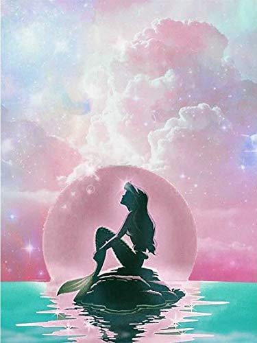 Reofrey 5D Diamond Painting Pez de mar rosa, Pintura Diamante Bricolaje Completo Taladro Arte, Punto de Cruz Diamantes Bordado Pegatinas de Pared Decoración de La sala (30x40cm)