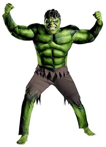 Costume hulk - bambino - 11-14 anni - vestito - super eroi - uomo - verde - carnevale - caldo - muscoli - altezza - bimbo - 130-140 cm