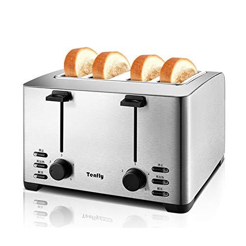 LIAO 4 rebanadas tostadora, 4 Ranuras para el Pan, tostadora, menaje tostar de la máquina de Acero Inoxidable de múltiples Funciones Fabricante de Pan automático tostadora del Pan