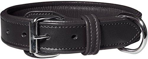 Knuffelwuff 13967-009 Leder Hundehalsband mit Schnallenschutz Detroit, schwarz