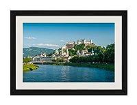 芸術品印刷黒い木枠ポスター家の装飾の絵画(ザルツブルク、オーストリア、川、橋、家、山)35x50cm