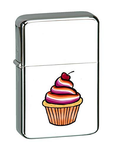 Hat Shark Lesbian Pride Cupcake Dessert Cherry LGBT KGM Thunderbird Vintage Lighter - High Polish Chrome