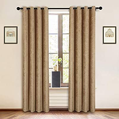"Double-Sided Chenille Curtains for Living Room Modern Window Treatment for Bedroom Curtain,Grommet Top-2 Panles (Coffee, 52"" W x 84"" L)"