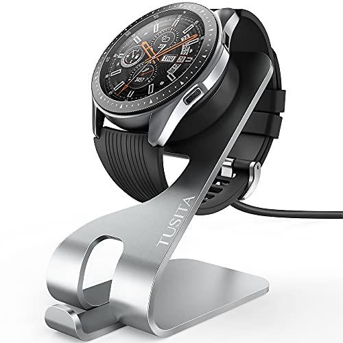 TUSITA Ladestation Kompatibel mit Samsung Galaxy Watch 42mm/46mm(Nicht für Galaxy Active), S3 Frontier, Galaxy Sport - USB Kable Aluminum Ladeständer 5ft 150cm Ladekabel - Smartwatch Zubehör