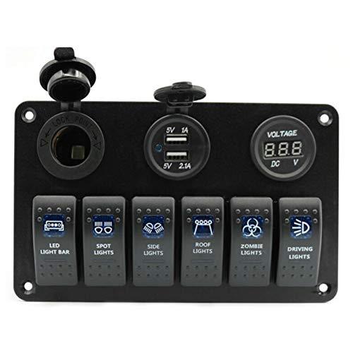 6 Gang, Barco Rocker panel de interruptores Interruptor coche Grupo Marina de doble ranura USB Socket + Encendedor pantalla de voltaje Digital + Interruptor de relevo de coche ( Color : Blue light )