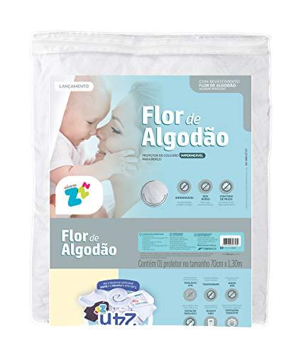 Protetor de colchão Flor de Algodão impermeável para berço em matelassê - 70x130 - Fibrasca, BRANCO