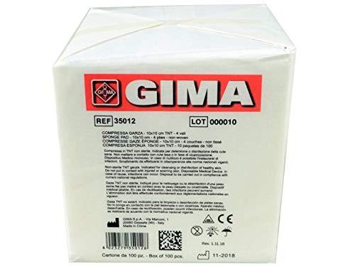 Gima 35012 Compressa Garza, Tessuto Non Tessuto, 4 Strati, 10 x 10 cm, Confezione da 1000