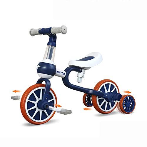 YGJT Triciclo Bebe Bicicleta Niño 1-4 Años Correpasillos de Equilibrio 3 en 1 Triciclos Bebes con Pedales con 4 Ruedas para Niños Regalos Originales Niña Cumpleaños (Azul)
