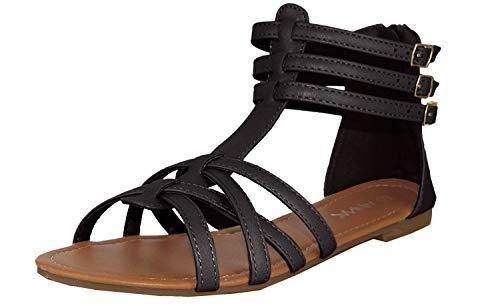 ANNA Mavis-8 Women Buckle Zip Gladiator Sandal,Black Pu,7.5