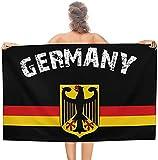 LUYIQ Mikrofaser Strandtuch,Deutsche Flagge Adler,groß 130x80 cm,Tragbar Sand Proof Ultraleicht,Strandtuch Bunt für Männer & Frauen,Super Saugfähig Schnell Trocknend