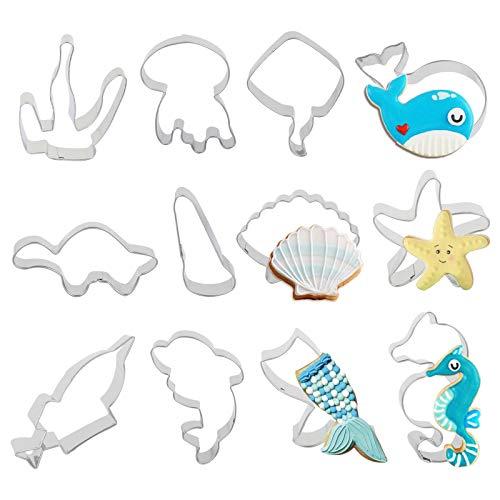 Tagliabiscotti Ocean, LANMOK 12 pezzi Sotto il mare Tagliabiscotti a tema In acciaio inox Conchiglia...