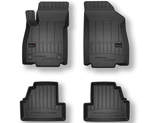 Pro-Line 3D407305 3D Gummimatten Auto Fußmatten TPE, Extra Hohe Rand, Komplettset 4-Teilig mit Befestigungssystem - Schwarz