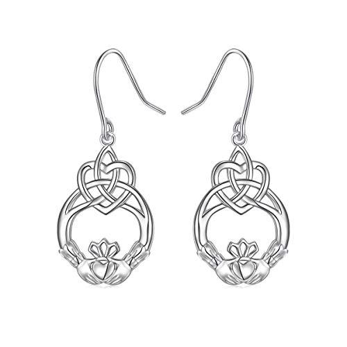 925 Sterling Silver Ear Hooks Celtic Knot Claddagh Drop Dangle Earrings Friendship Jewelry Gift for Women Friend or Wife